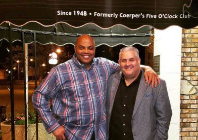 Basketball legend Charles Barkley visits the Five O'Clock Steakhouse